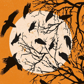 Ravens Call Halloween Tea Towel Orange