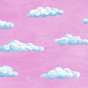 painted clouds - summer blue on butterfly pink