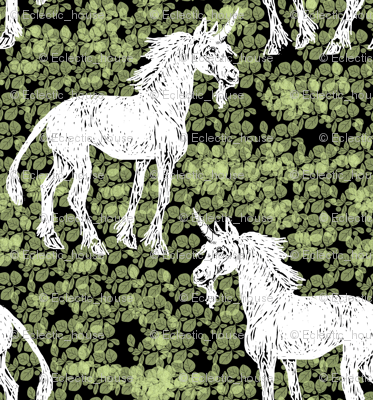 Rrrscratchboard_unicorn_on_black_and_green_leaves_rev_preview