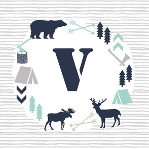 boys nursery baby boy camping woodland bear forest navy blue mint and grey kids nursery baby quilt FQ monogram