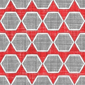 Geometric faux linen red