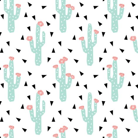 Cactus flowers cute girly cactus with peach pink flowers for Cute baby fabric prints