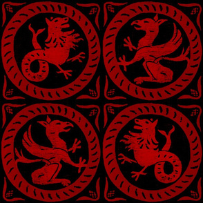 13th Century Dragon Tile ~ Richelieu Red on Black
