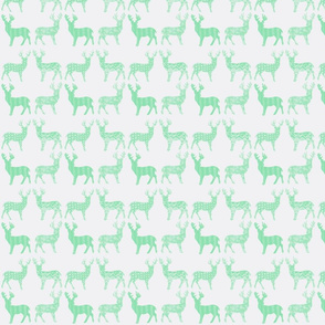 Mint Meadow Deer on White