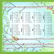 2017 Calendar Birch Trees and Squirrels