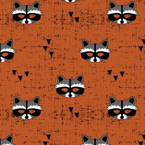 raccoon mask || burnt orange