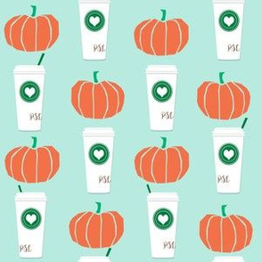 pumpkins autumn fall pumpkin spice latte fabric, autumn girls pumpkin spice, coffee, psl, pumpkin spice latte, latte, autumn, fall