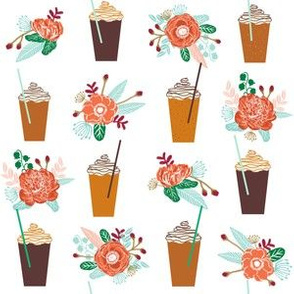 pumpkins autumn florals flower girly painted floral peach fall pumpkin spice latte fabric, autumn girls pumpkin spice, coffee, psl, pumpkin spice latte, latte, autumn, fall