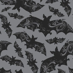 Night Flight - Gothic Halloween Bats Grey