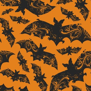 Night Flight - Gothic Halloween Bats Orange