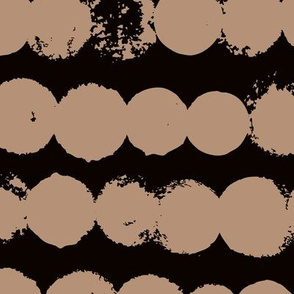 Circles and rows cool Scandinavian style dots brush strings gender neutral black cappucino XL