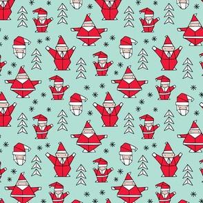 Origami decoration stars seasonal geometric december holiday and santa claus print design red mint SMALL