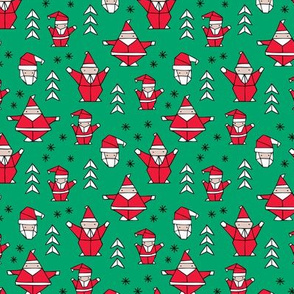 Origami decoration stars seasonal geometric december holiday and santa claus print design red green SMALL