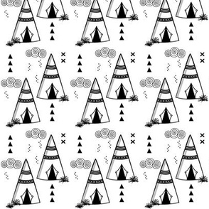 Teepee // Black and white outlines