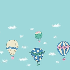 Hot Air Balloons Border Print- Blue