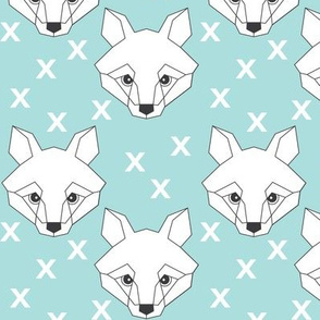 Geometric white fox-on-blue