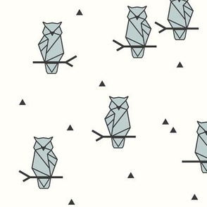 Geometric Owls - woodland birds night birds geo seafoam on Ivory || by sunny afternoon