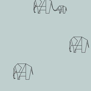 Elephant family - seafoam Safari origami geometric animals || by sunny afternoon