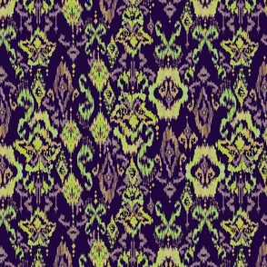 Painterly Ikat in purple & green