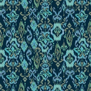 Painterly Ikat in blues