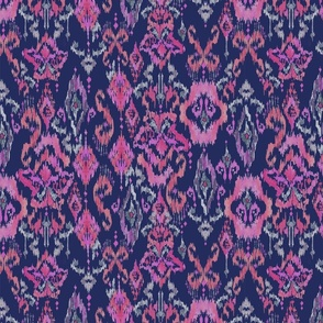 Painterly Ikat in pink & navy