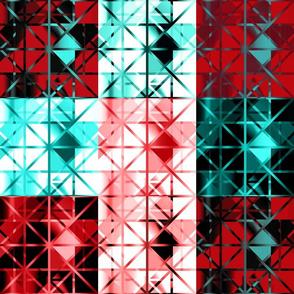 Diamond Quilt Red Black Aqua