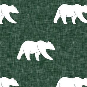 bear - hunter green linen (large scale)