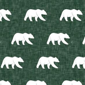 bear - hunter green linen (small scale)