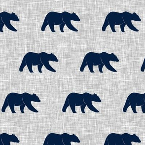 navy bear on light grey linen (small scale)