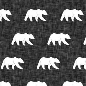 bear on dark grey linen (small scale)