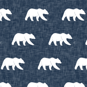 bear on navy linen (small scale)