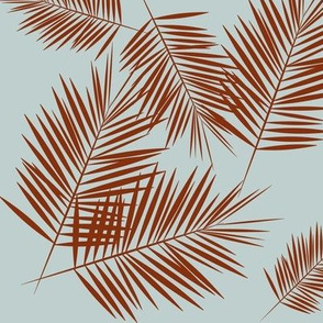 Palm leaves - Palm tree, tropical summer, rusty red on seafoam blue || by sunny afternoon