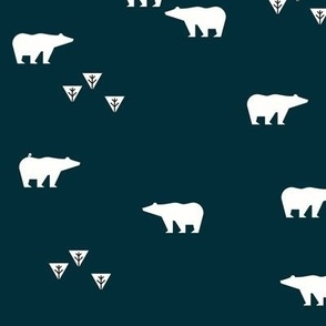 Polar bear - navy blue night dark bears || by sunny afternoon