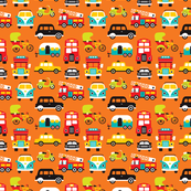 Fun boys cars fire truck and retro traffic illustration print XS