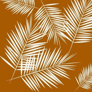 Palm leaves - palm tree tropical plants summer rusty orange || by sunny afternoon