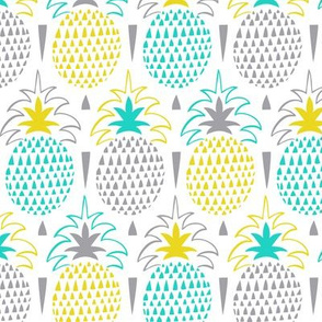 Fresh Picked Summer Pineapple Geometric Aqua Yellow
