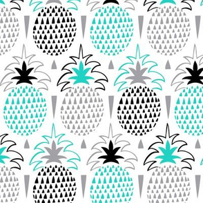 Fresh Picked Summer Pineapple Geometric Aqua Black