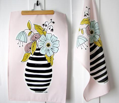 Summer Floral Vase Tea Towel Pink Blush
