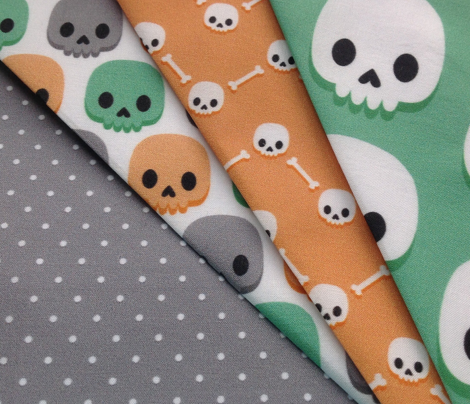 Orange, green and grey skulls