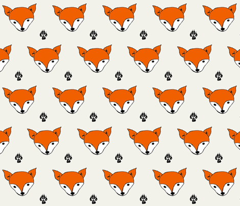 Orange fox fabric chavamade spoonflower for Fox print fabric