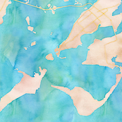 chincoteague VA watercolor map design