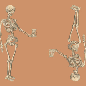 Two Skeletons Fat Quarter Orange Background
