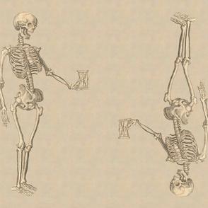 Fat Quarter Double Skeletons on Parchment