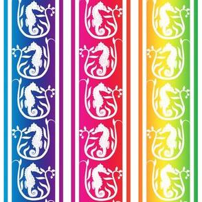Seahorse Stripe White on Rainbow