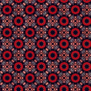 Red and Navy Stylized Roses