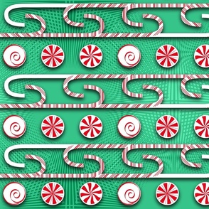 Candy Cane Shadow Green Red