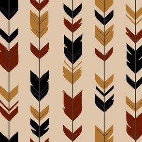 Arrow Feathers - Khavi Wood - tan,black,gold,maroon