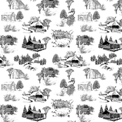 log cabin scene - toile