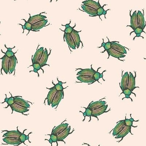 Oolong beetles on pale pink