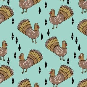 thanksgiving turkey // turkey trot cute thanksgiving mint fabric for kids cute bird birds fall autumn